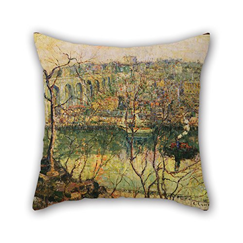 - Throw Pillow Case Of Oil Painting Ernest Lawson - High Bridge - Early Moon 20 X 20 Inches / 50 By 50 Cm,best Fit For Indoor,lover,bf,play Room,adults,home Theater Double Sides