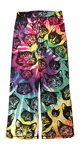Kitty Cat Heads Tie Dye Knit Graphic Sleep Lounge Pants - Small