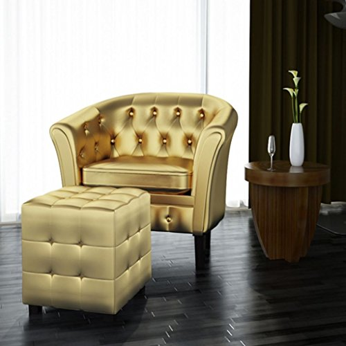 Festnight Cube Armchair Leather Single Sofa Chair with Ottoman Footrest Gold Armrest Tub Barrel Club Seat Chair Upholstery Living Room Home Office Reception Furniture