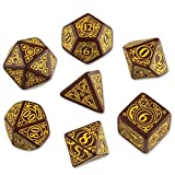 Q-Workshop Polyhedral 7-Die Set: Carved Steampunk Dice Set (Brown & Yellow) by Q-Workshop