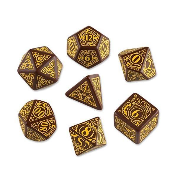 Q-Workshop Polyhedral 7-Die Set: Carved Steampunk Dice Set (Brown & Yellow) by Q-Workshop 4