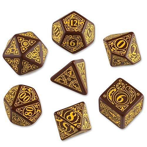 Q-Workshop Polyhedral 7-Die Set: Carved Steampunk Dice Set (Brown & Yellow) by Q-Workshop