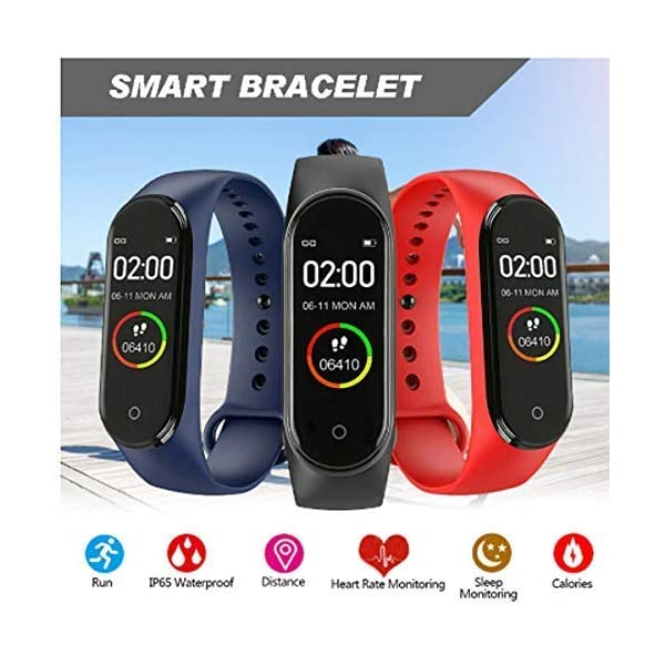 51E19j%2BN77L Gadget Galaxy M4 Smart Band Fitness Tracker Watch Heart Rate with Activity Tracker Waterproof Body Functions Like Steps…
