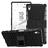 Sony Xperia Z5 Premium Case - MoKo Heavy Duty Rugged Dual Layer Armor with Kickstand Protective Cover for Sony Xperia Z5 Premium 5.5 Inch Smartphone 2015 Edition, BLACK