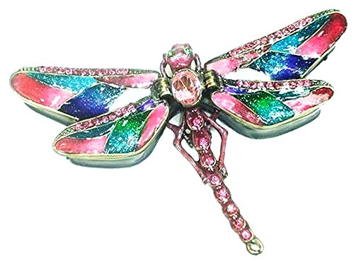 Welforth Jeweled Pink & Multi-Color Dragonfly Shaped Enamel Pewter Trinket (Dragonfly Jeweled Box)