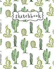"Sketchbook: Green Cactus Pattern Sketchbook, 8.5"" x 11"", 110 Pages, Large Blank Sketchbook for Drawing, Sketching, Doodling, Journal Writing And Notes"