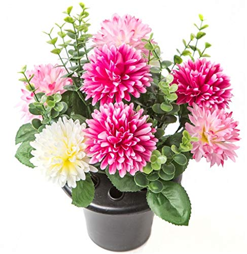 ARTIFICIAL PINK & CREAM MUM FLOWER ARRANGEMENT GRAVE POT - VASE INSERT MEMORIAL