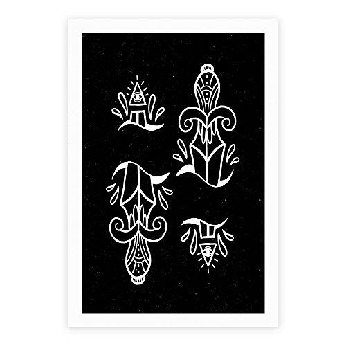 LookHUMAN Illuminati Tattoo Daggers White 8 x 10 Inch Giclee Art Print Poster (Tattoo N Inspired Roll Rock)
