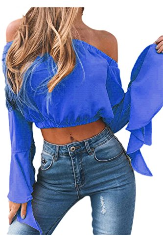 Mujeres Vintage Vestido Fuera Del Hombro Flare Sleeve Loose Crop Top Blusas Blue