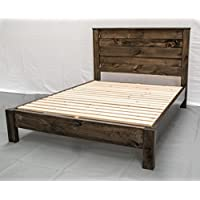 Rustic Farmhouse Platform Bed w Headboard - King / Traditional Platform Frame / Wood Platform Reclaimed Bed / Modern / Urban / Cottage Platform Bed