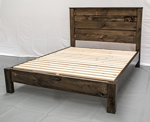 (Rustic Farmhouse Platform Bed w Headboard - King/Traditional Platform Frame/Wood Platform Reclaimed Bed/Modern/Urban/Cottage Platform Bed)