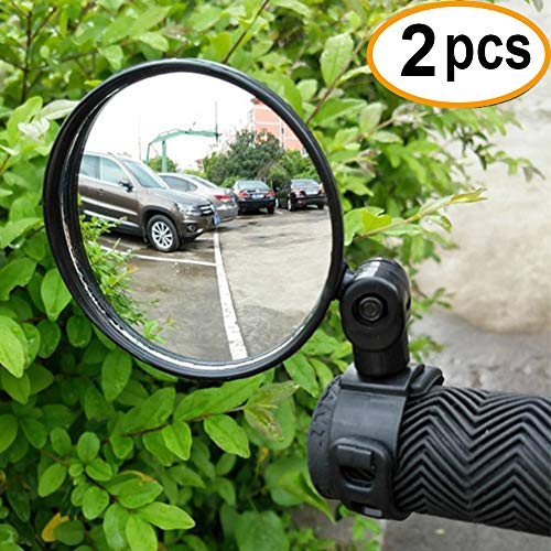 CIKIShield 2-Pack Adjustable Rotatable Handlebar Glass Mirror for Mountain Road Bike Cycling Bicycle