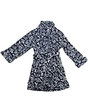 Women's Plush Bathrobe, Large Navy