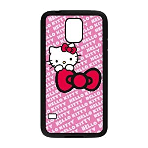 Samsung Galaxy S5 Phone Case Black Hello Kitty Pink Bow Peek SO4X8VQF Cell Phone Cases And Accessories
