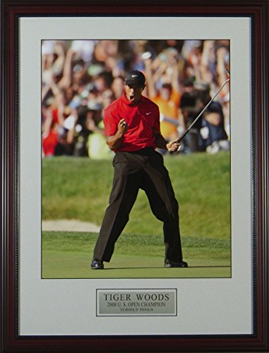 (BirdieTown Sport's Memorabilia Photo - Tiger Woods Fist Pump at Torrey Pines 2008 US Open - Framed (21x28))