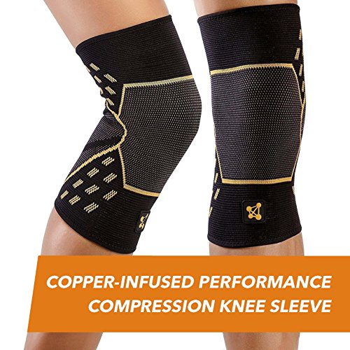 CopperJoint – Copper-Infused Performance Compression Knee Sleeve, Promotes Increased Blood Flow to The Knee Provides Enhanced Compression Support Athletes, Single Sleeve