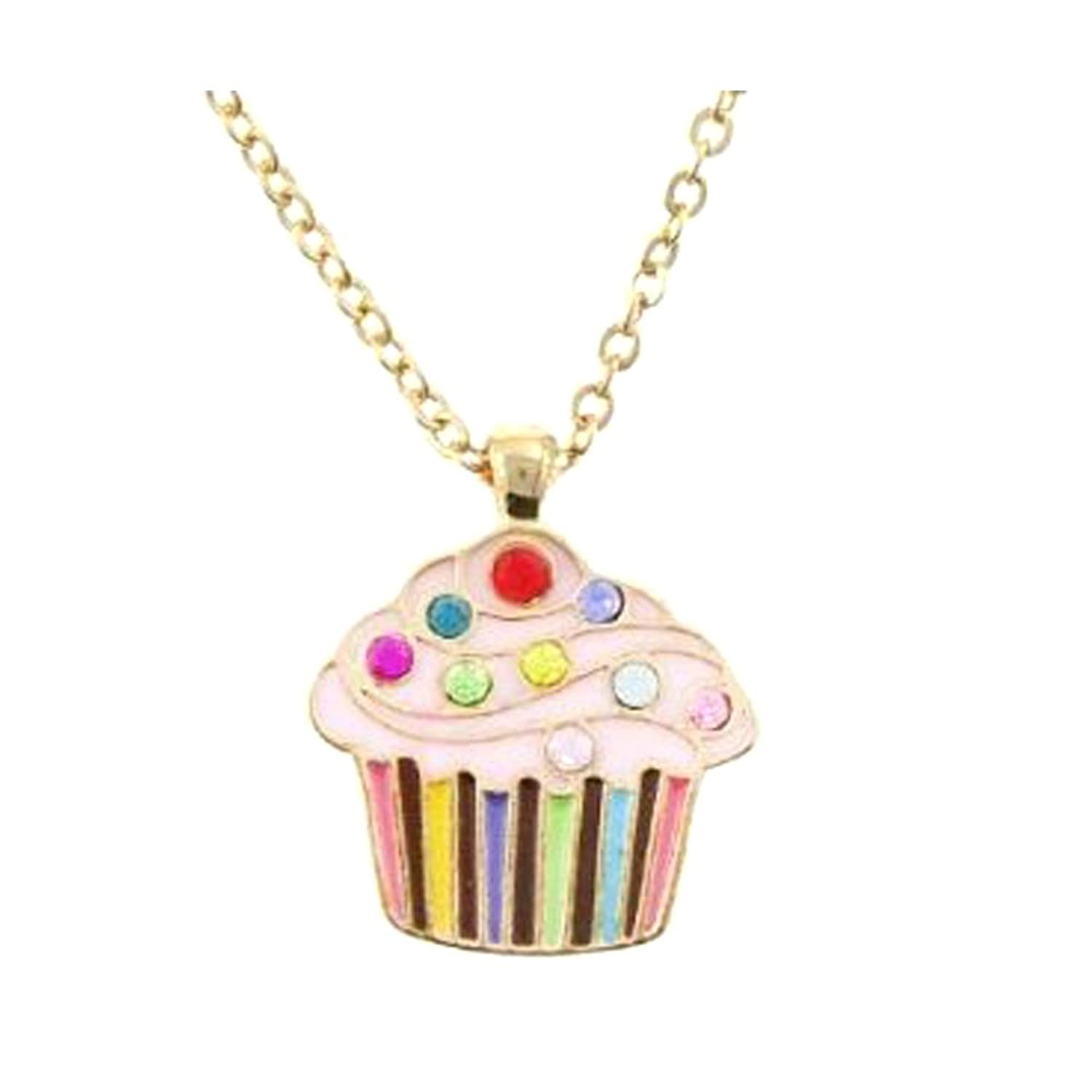 Kid's Cupcake Crystal and Enamel Pendant Necklace in Cup Cake shaped Gift Jewelry BOX-colors may vary