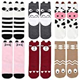 Bundle Monster 6 Pair Child Size Mixed Animal Design Knee High Style Tube Socks - Set 3: Cutie Creatures, Small