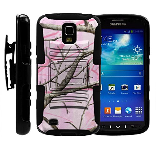 S4 Active Case, S4 Active Holster, Two Layer Hybrid Armor Hard Cover with Built in Kickstand for Samsung Galaxy S4 IV Active I9295, SGH-I537 (AT&T) from MINITURTLE | Includes Screen Protector - Pink Hunter Camouflage (Samsung Galaxy S4 Case 2 Layer)
