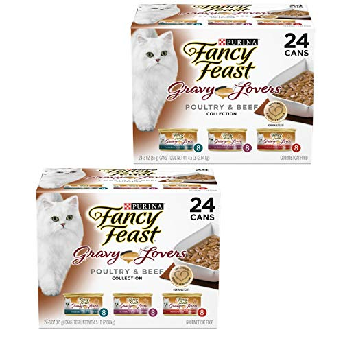 Fancy Feast Gravy Wet Cat Food Variety Pack; Gravy Lovers Poultry & Beef Feast Collection - (24) 3 oz. Cans, 2 Pack