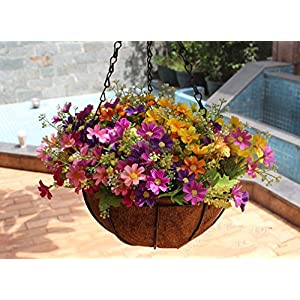 Mynse Daisy Flower Artificial Hanging Plant Home Balcony Indoor Outdoor Decor Fake Flower Hanging Basket with Chain Flowerpot 5