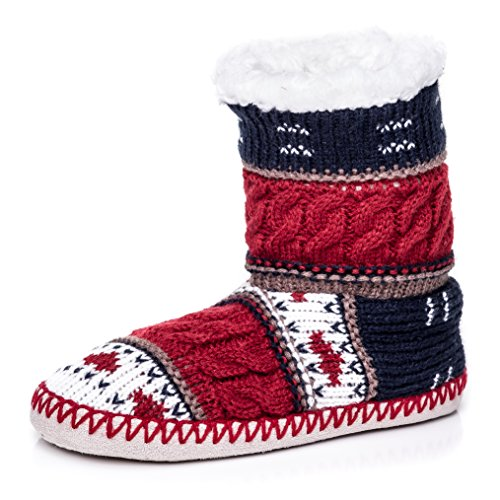 Noble Mount Womens Nordic Pattern Indoor Boot Slippers - Red/Navy - Large