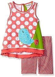 Rare Editions Little Girls' Toddler Bird Applique Short Set, Multi, 4T