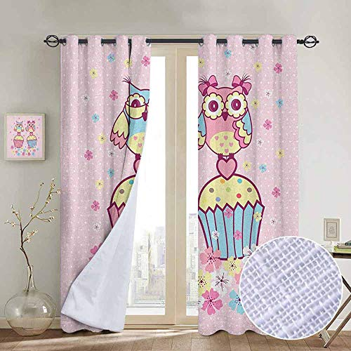 NUOMANAN Customized Curtains Owls,Two Owl Couples on Cupcakes Springtime Happiness Romantic Children Art, Pale Pink Sky Blue Yellow,Blackout Draperies for Bedroom Living Room 54