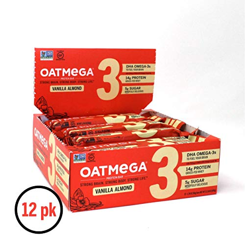 Oatmega Protein Bars, Vanilla Almond, Healthy Snacks Made with Omega-3 and Grass-Fed Whey Protein, Gluten Free Protein Bars, 1.8oz (12 Count)