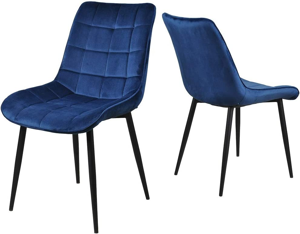 Rikis Dining Chairs,Velvet Cushion Seat Back Sturdy Metal Legs,Kitchen Dining Living Room Chairs Set of 2 Blue