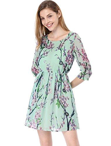 3/4 Manches Col Rond Allegra Femmes K Imprimé Floral Au-dessus Robe Patineuse Genou Menthe