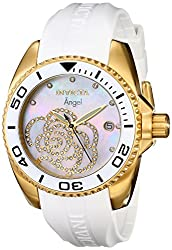 Invicta Women's 0488 Angel Gold-Tone Watch with White Polyurethane Band