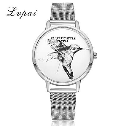 Reloj de Pulsera de Mujer Reloj de Esfera Redonda Movimiento de Patrón de Animal Vestido Casual
