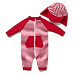 Bonverano(TM Kids UPF 50+ Sun Protection S/S One Piece Zip Sun Suit (6-9 Months, Red Stripes)