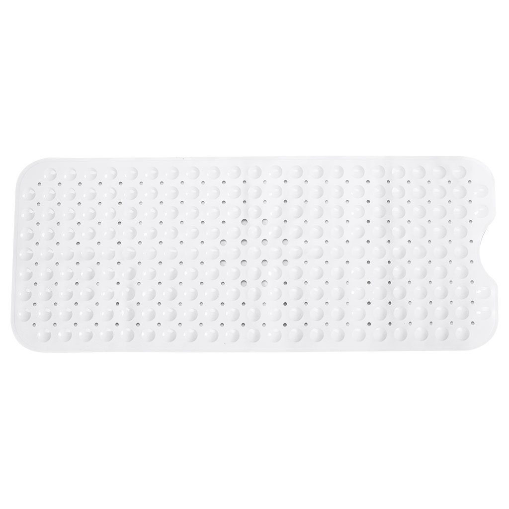 OTGO 1 Pc Extra Long Non-Slip Environmental Bathroom Mat Shower Tub Massage Mat with Suction Cup,100x40cm/39.37x15.75in(LxW) (White)