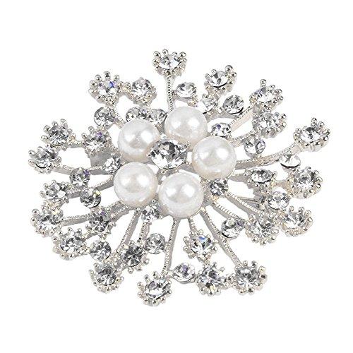 Flower Brooch Women Fashion Brooches Pins Wedding Rhinestone Crystal Jewelry (Center Brooch Pin)