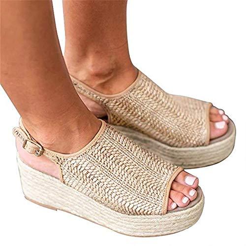 732f64896df2c Summer Sandals Womens Wedge Sandals Woven Jute Buckle Flat Sandals B 7