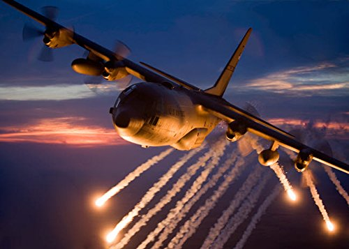 A C-130 Hercules releases flares during a mission over for sale  Delivered anywhere in USA