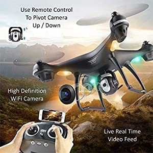 Upgraded S70W Dual GPS 1080p WIFI Quadcopter RTF 2.4Ghz Wide Angle HD Gimbal Camera - Live Video, Photography, Altitude Hold, Follow Me, Auto Takeoff & Land (Bonus 30 Min Fly Time) For Beginner To Pro from SJ R/C