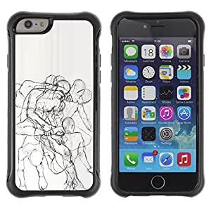 KROKK CASE Apple Iphone 6 PLUS 5.5 - human body anatomy drawing pencil - Rugged Armor Slim Protection Case Cover Shell