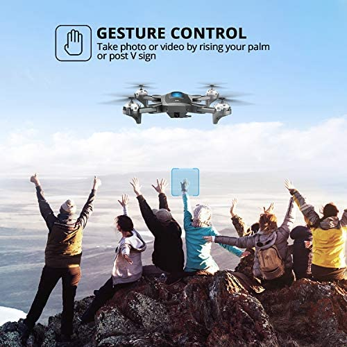 DEERC D10 Foldable Drone with Camera for Adults 720P HD FPV Live Video, Tap Fly, Gesture Control, Selfie, Altitude Hold, Headless Mode, 3D Flips, Quadcopter for Kids Beginners with 2 Batteries 24mins 51E1DsgOyhL