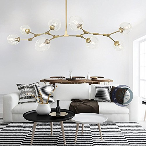 Glass Gold Buttons - RS Lighting Nordic American Retro Creative Art Tree Branches Transparent Glass Bubble Ball 8-Light Chandeliers Restaurant Gold Aluminum Alloy Living Room Pendent Lights