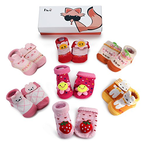 Haley Clothes Newborn Baby Anti-Slip Socks Toddler Non-Skid Socks for Kids (7 Pairs/Box Baby Girls Infant Socks Gift Set), Size S (fits for 0-6 Months) (Baby Basket Gift Mother)