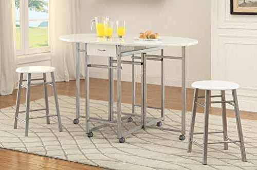 Coaster Home Furnishings Coaster 100080 3Piece Set, Counter Height, White/Metal