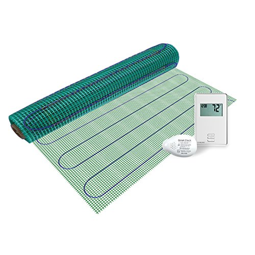 WarmlyYours - 6 sq. ft. - 120VElectric Floor Heating Mat Kit withGFCIThermostat, Circuit Check, and Floor Sensor - For undertile, marble, vinyl, and stone.