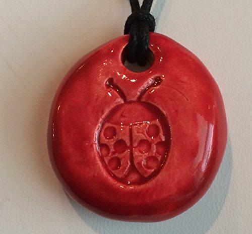 LADY BUG Pendant - Fire Engine Red Art Glaze - Inspirational Art Piece