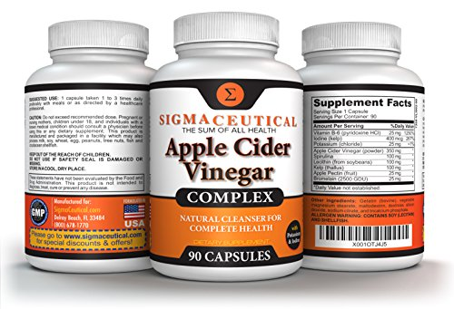 Apple Cider Vinegar Capsules – Blood Sugar, Weight Loss & Digestion Detox Support – 90 Capsules