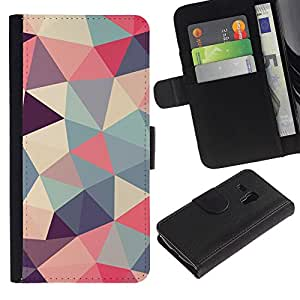 KingStore / Leather Etui en cuir / Samsung Galaxy S3 MINI 8190 / Motif Poly Art