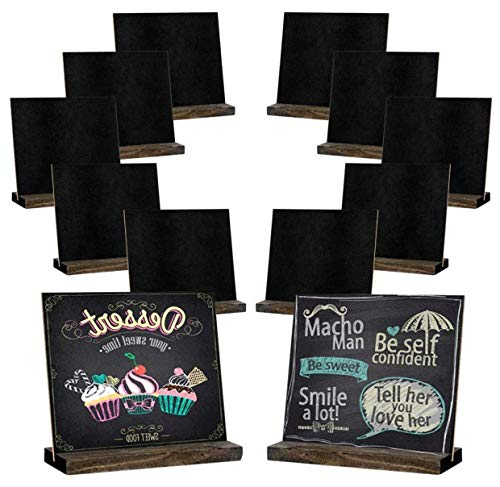 Mini Chalkboard Signs, 5 X 6 Inch Vintage Wooden Tabletop Chalkboard Sign with Base Stand, Set of 12 Pack