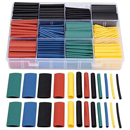 Cable Sleeves - 530pcs Pack Assortment Electronic Polyolefin Ratio 2 1 Wrap Wire Cable Sleeve Tubes Kit Heat Shrink - Valcro Long Crimper Comb Neoprene Heat Green Organizer Closing Ivory
